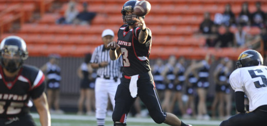 2012 November 2 SPT - OIA Football Radford - Radford quarterback Cody Lui-Yuen passes the football in the first quarter of the Radford vs Nanakuli football game at Aloha Stadium. HSA photo by Bruce Asato