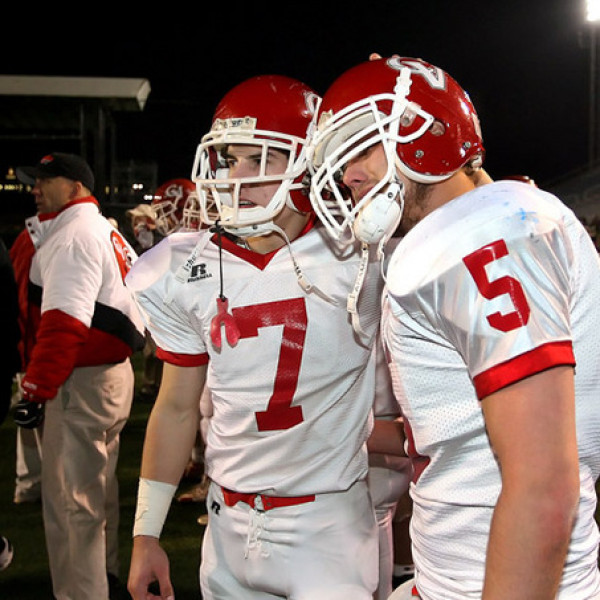 Cumberland Valley's Jon Anzur, left, and Nate Rhodes, console each other after losing to Wilson, in the District 3 class AAAA Football Championship at Hersheypark Stadium Saturday November 29, 2008. CHRIS KNIGHT